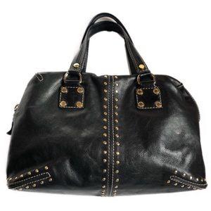 Michael Kors Black Leather Bag Gold Stud Detailing